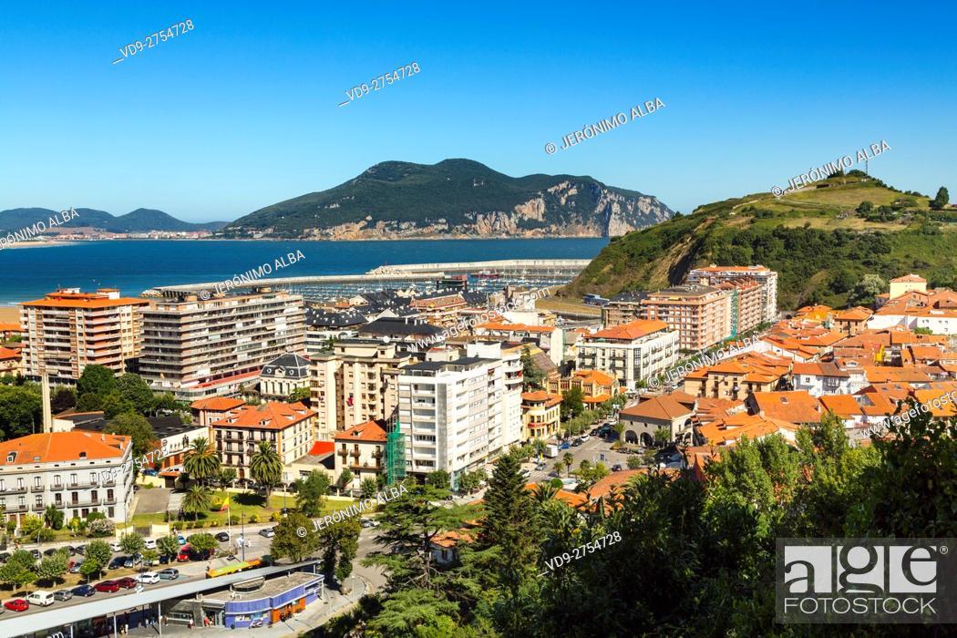Stock Photo: Panoramic view, fishing village of Laredo, Cantabrian Sea. Cantabria Spain Europe.