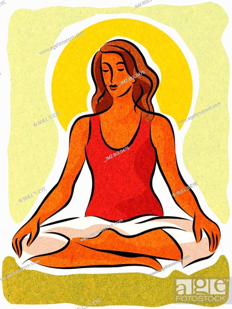 Stock Photo: A woman meditating in the lotus position.
