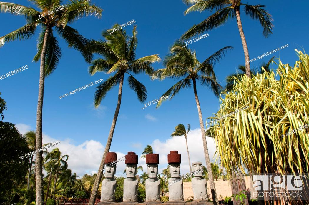 Stock Photo: Rapa Nui Moai. Stone statues. Polynesian Cultural Center. O'ahu. Hawaii. The Polynesian Cultural Center PCC is a Polynesian-themed theme park and living museum.