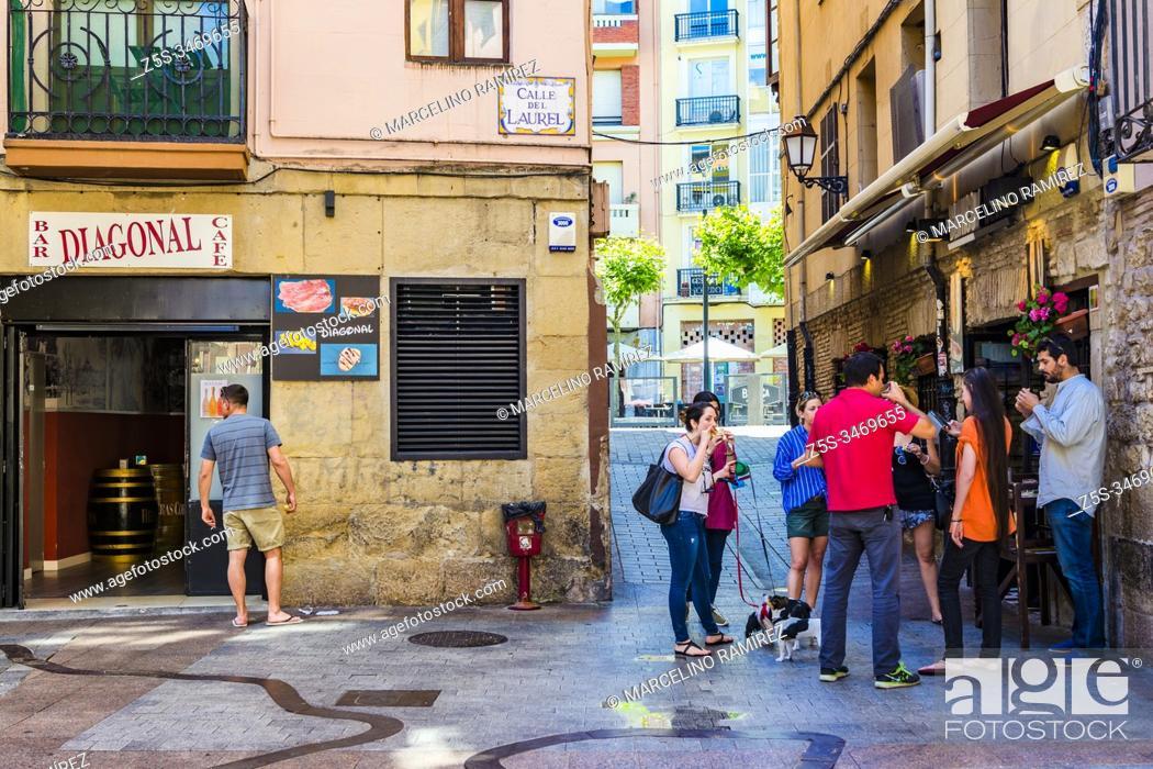 Stock Photo: Bar Diagonal. Laurel street area. Logrono - Logroño, La Rioja, Spain, Europe.