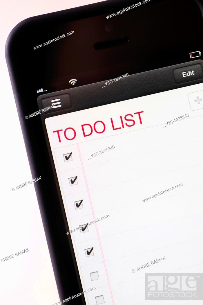 Stock Photo: To Do List on smart phone app.