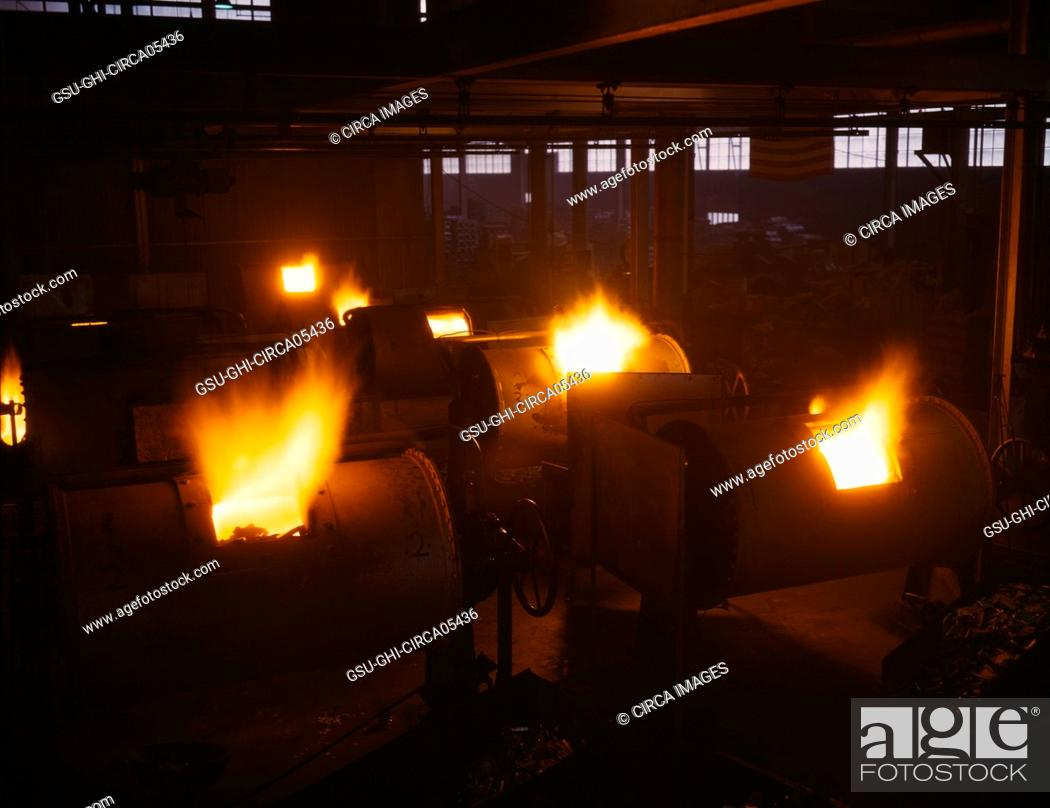 Stock Photo: Rotary, Oil-Fired Melting Furnaces, Destination of the Finished Aluminum Products is Kept Secret, Aluminum Industries, Inc., Ohio, USA, Alfred T.