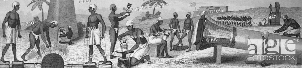 Imagen: Ancient people and the life in ancient Egypt, crafts, blacksmith, potter, stone mason, transport of a colossus, from left, historic steel engraving, 1875.