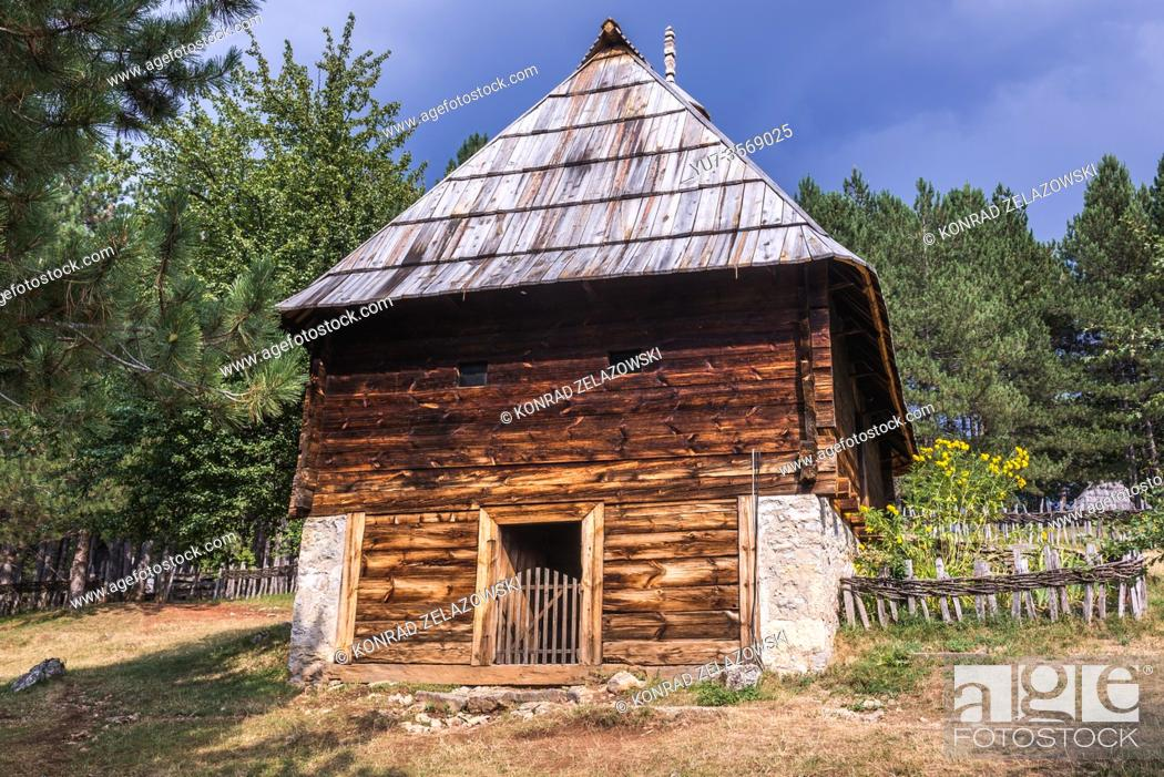 Stock Photo: Traditional wooden house dates from 1891 in Ethnographic heritage park called Old Village Museum in Sirogojno village, Zlatibor region, Serbia.
