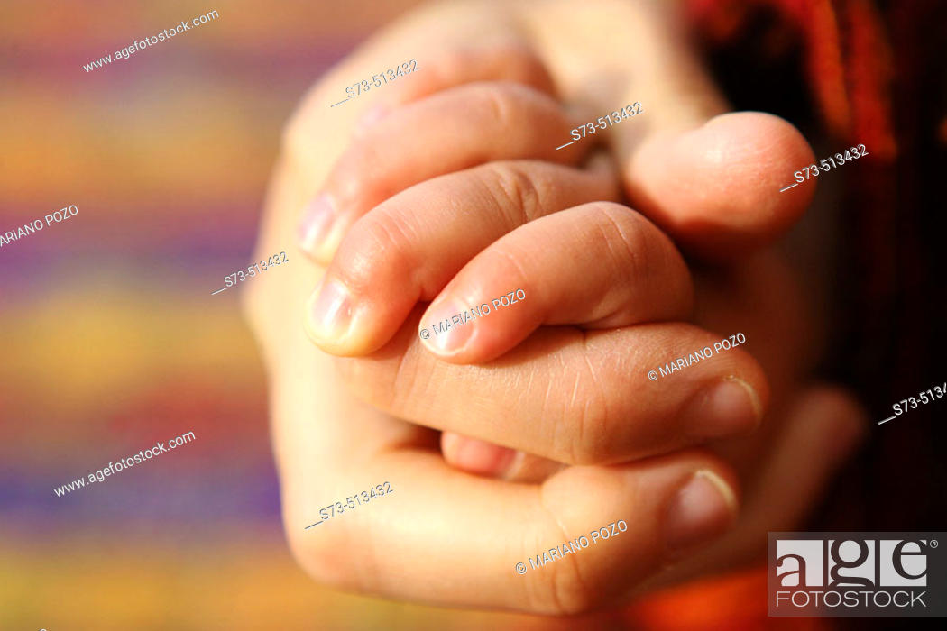 Stock Photo: Mother and baby's hands.
