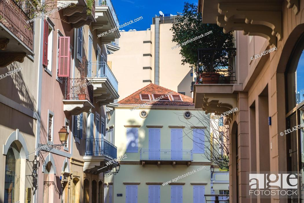 Stock Photo: Houses in Saifi Village residential upscale neighbourhood located in Beirut, Lebanon.