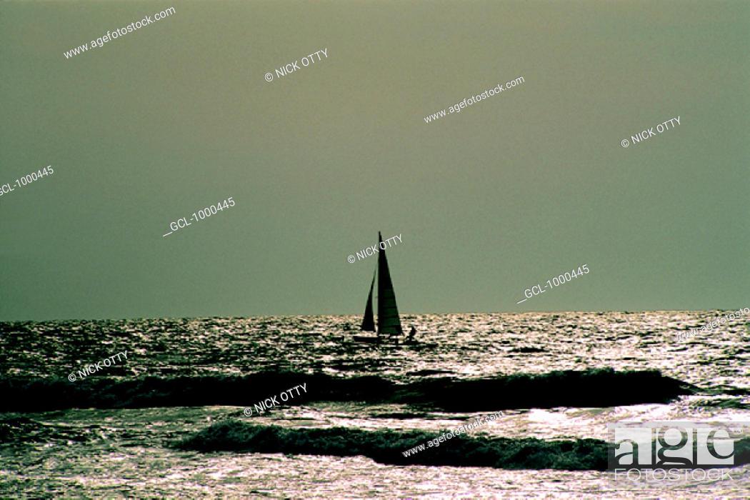 Stock Photo: Sailing boat near the Dubai beach, UAE.