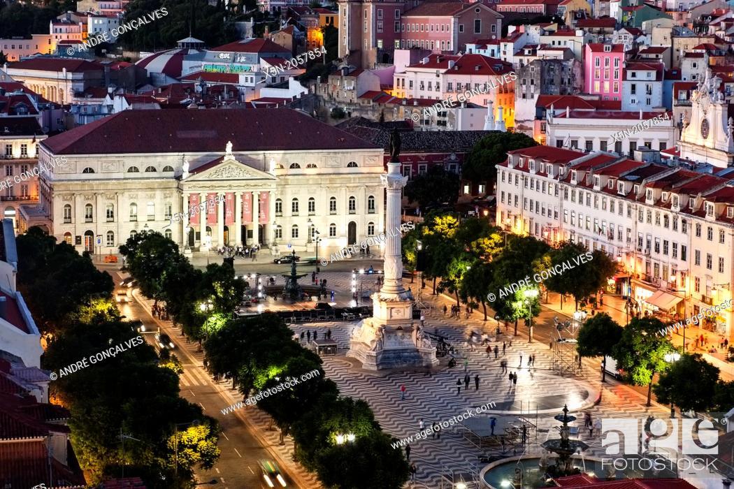Stock Photo: D. Pedro IV Square, Lisbon, Portugal, Europe.