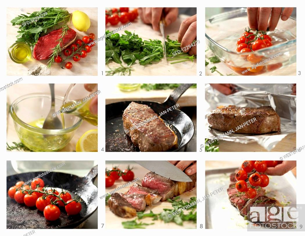 Stock Photo: Rump steak with tomatoes and rocket being made.