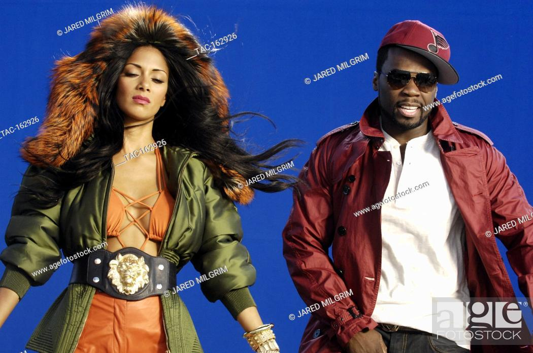 """Stock Photo: Behind the scenes of Nicole Scherzinger featuring 50 Cent """"""""Right There"""""""" Music Video on April 11, 2011 in Los Angeles, California."""
