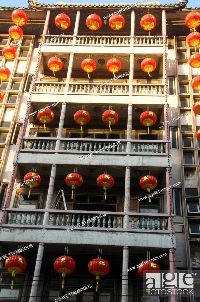 Stock Photo: lanterns hanging at at a temple during Chinese New Year in Bangkok Thailand.