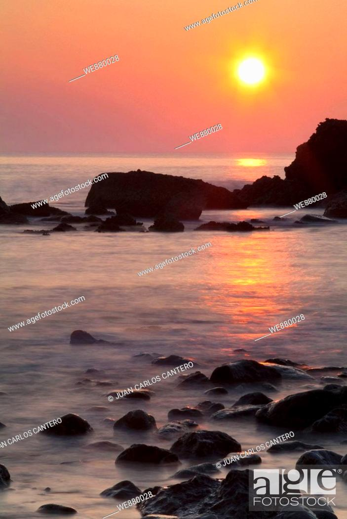 Stock Photo: Sunset on the coast of Liencres, Cantabria. Spain.