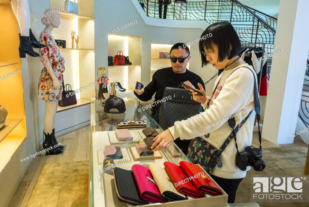 Stock Photo: Monaco, Monte Carlo, Chinese Tourists Shopping in Louis Vuitton Store, Les Pavillions, Luxury Shops, Shopping Center.