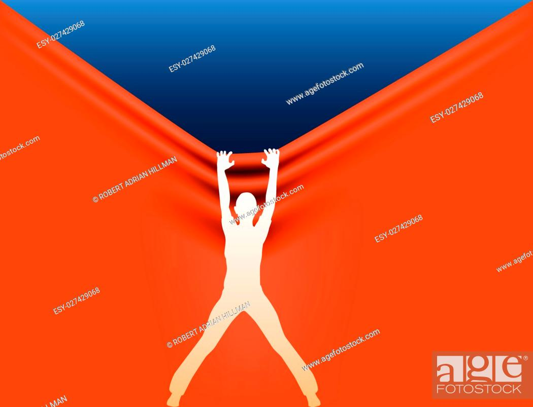 Stock Vector: Editable vector silhouette of a woman pulling the background down.