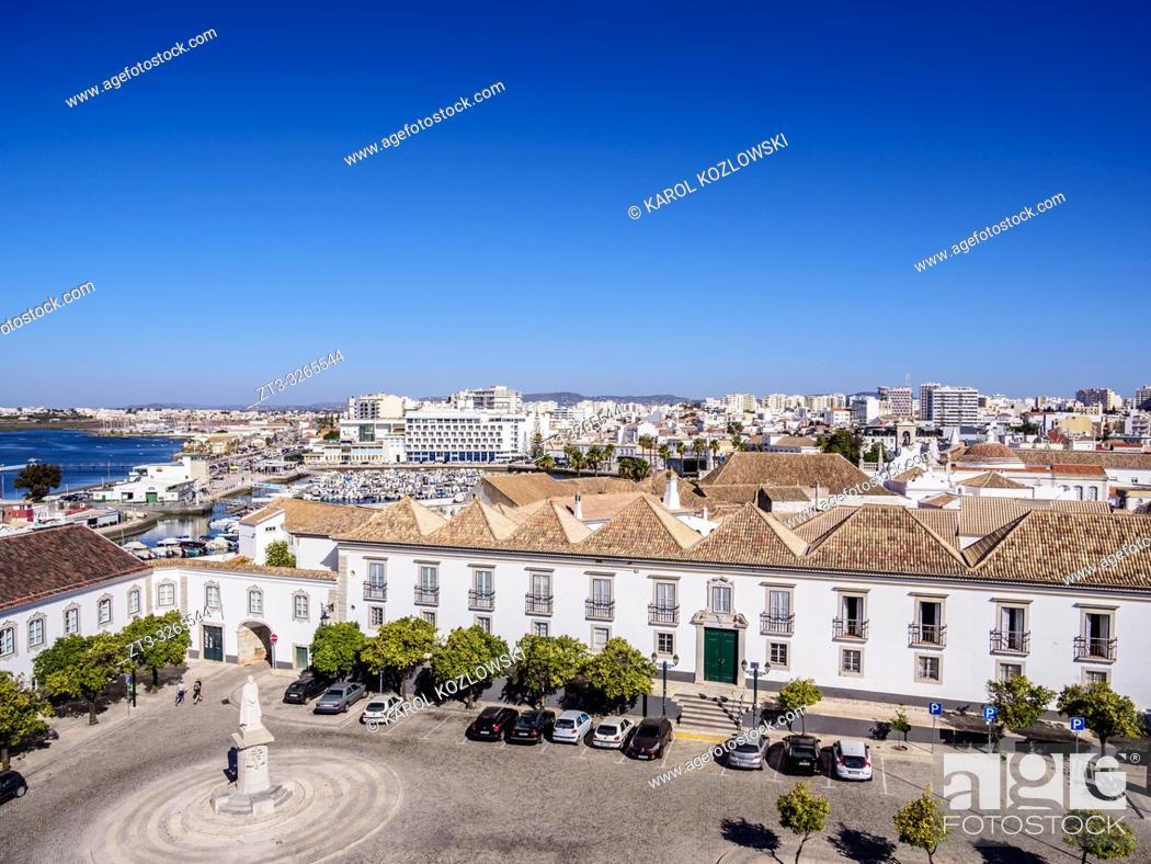 Stock Photo: Episcopal Palace and Largo da Se, elevated view, Faro, Algarve, Portugal.