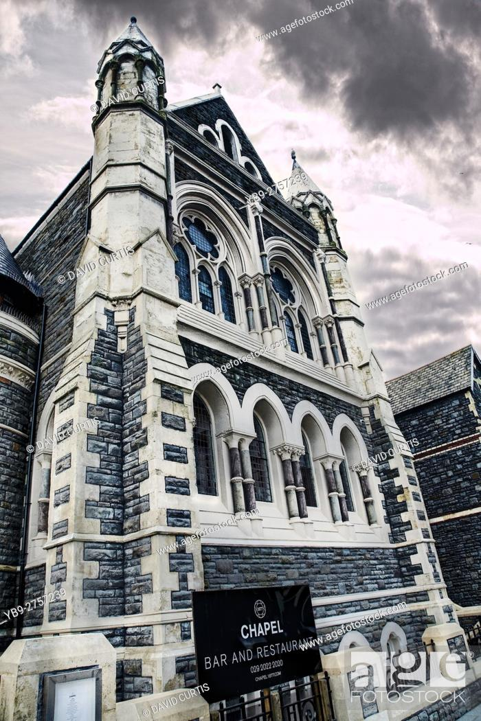 Stock Photo: Chapel 1877 in Cardiff, South Wales. A former Chapel, now converted into a bar and restaurant.