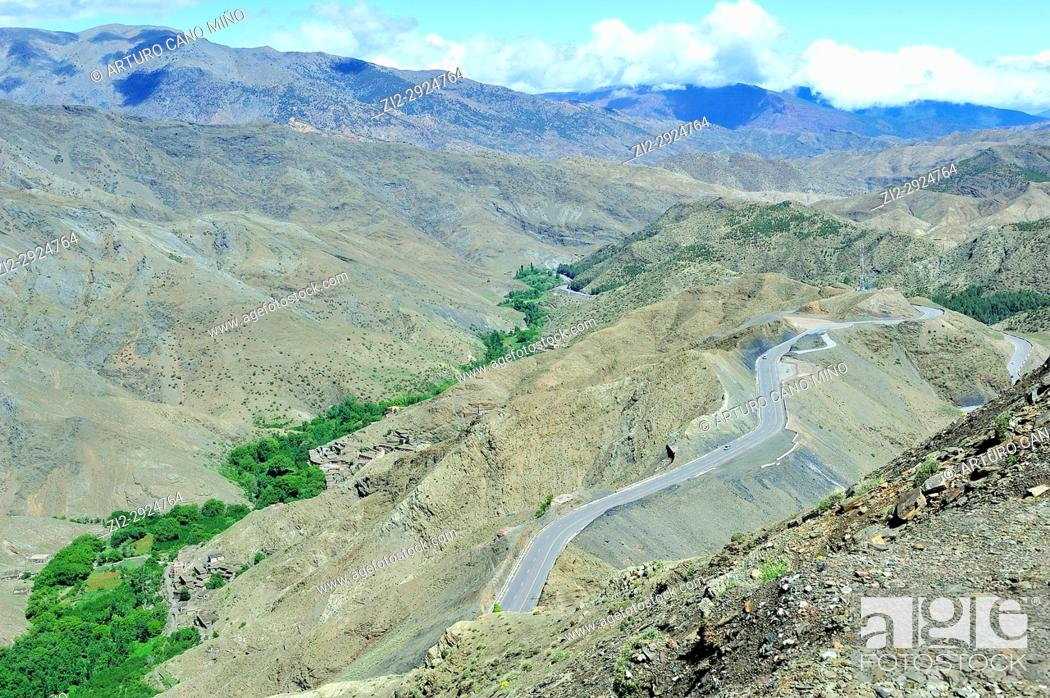 Stock Photo: The road to Tizi n'Tichka pass. The High Atlas. Morocco.