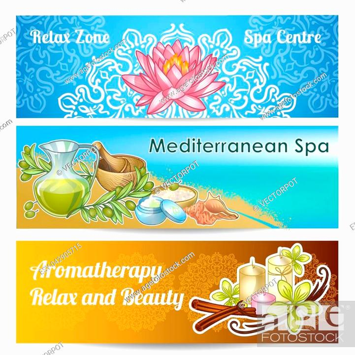 Three Horizontal Spa Salon Banner Set With Relax Zone Spa Centre Mediterranean Spa And Aromatherapy Stock Vector Vector And Low Budget Royalty Free Image Pic Esy 042905715 Agefotostock