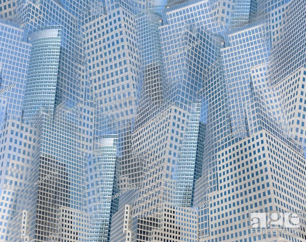 Stock Photo: Abstract background pattern of lots of city skyscrapers.