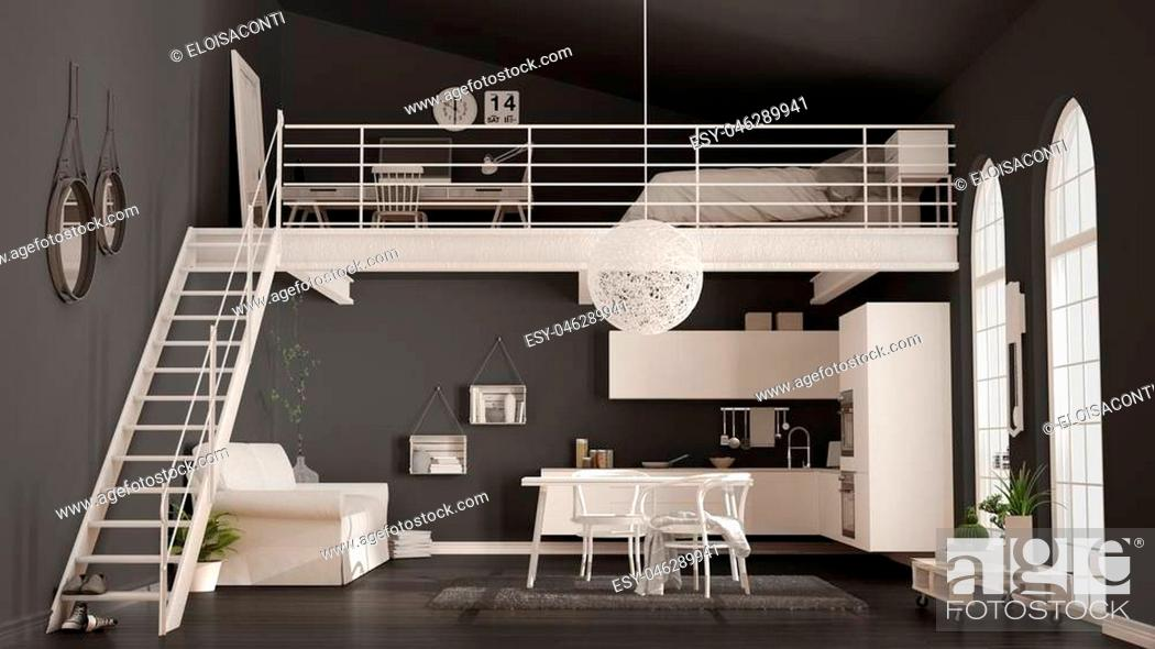 Scandinavian Minimalist Loft One Room Apartment With White Kitchen Living And Bedroom Stock Photo Picture And Low Budget Royalty Free Image Pic Esy 046289941 Agefotostock
