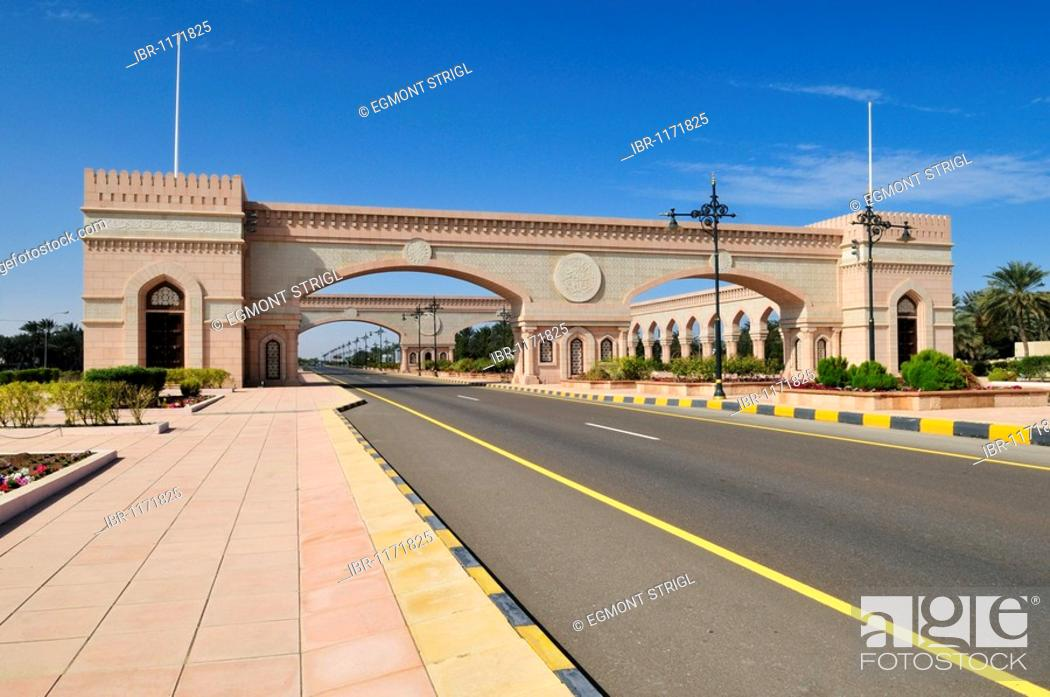 Stock Photo: Beautification, building along the freeway between Muscat and Sohar, Batinah Region, Sultanate of Oman, Arabia, Middle East.