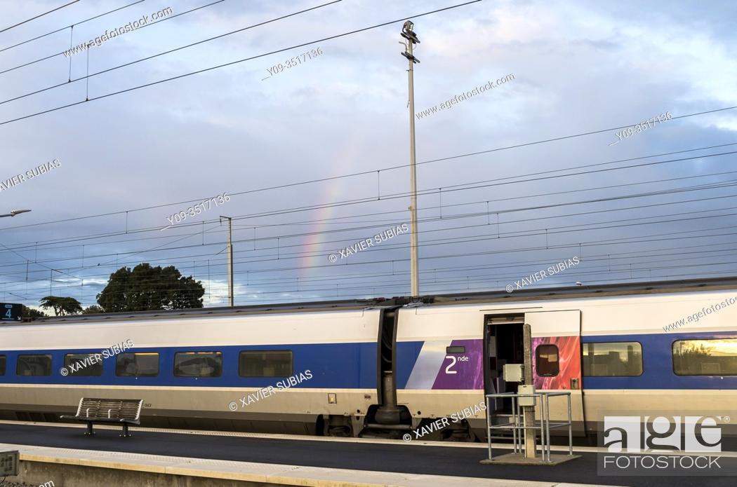 Stock Photo: Rainbow, Train station, Le Croisic, Loire-Atlantique, Pays de la Loire, France.