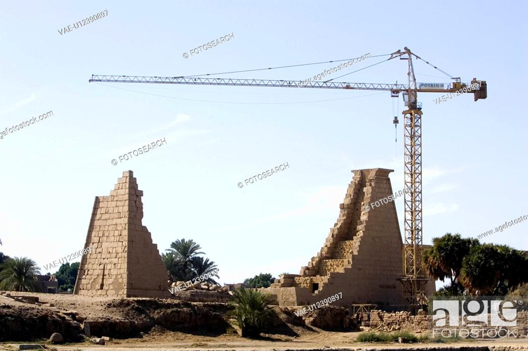 Stock Photo: Brick Wall, Building Exterior, Building Structure, Construction Equipment, Construction Site.