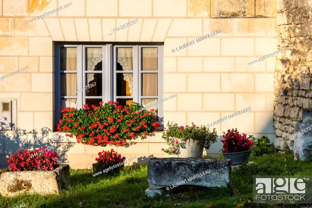 Stock Photo: Typical Tufa House at Crissay-sur-Manse, Labeled The Most Beautiful Villages of France. Indre-et-Loire, Centre region, Loire valley, France, Europe.