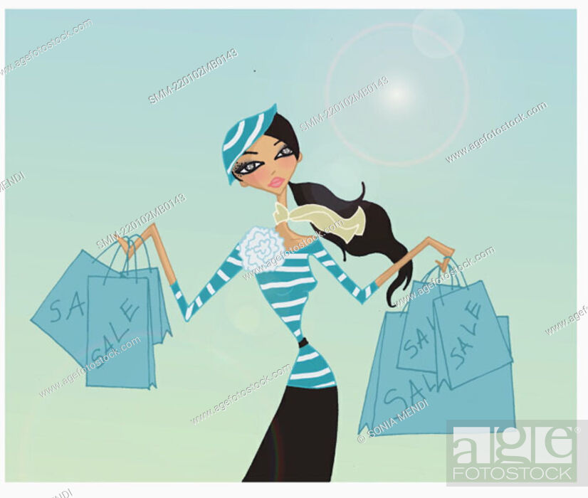 Stock Photo: Woman with shopping bags from a sale.