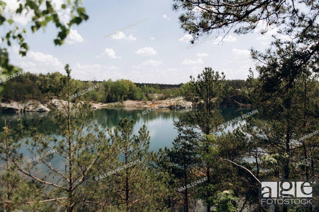 Stock Photo: Scenic view of trees near lake.