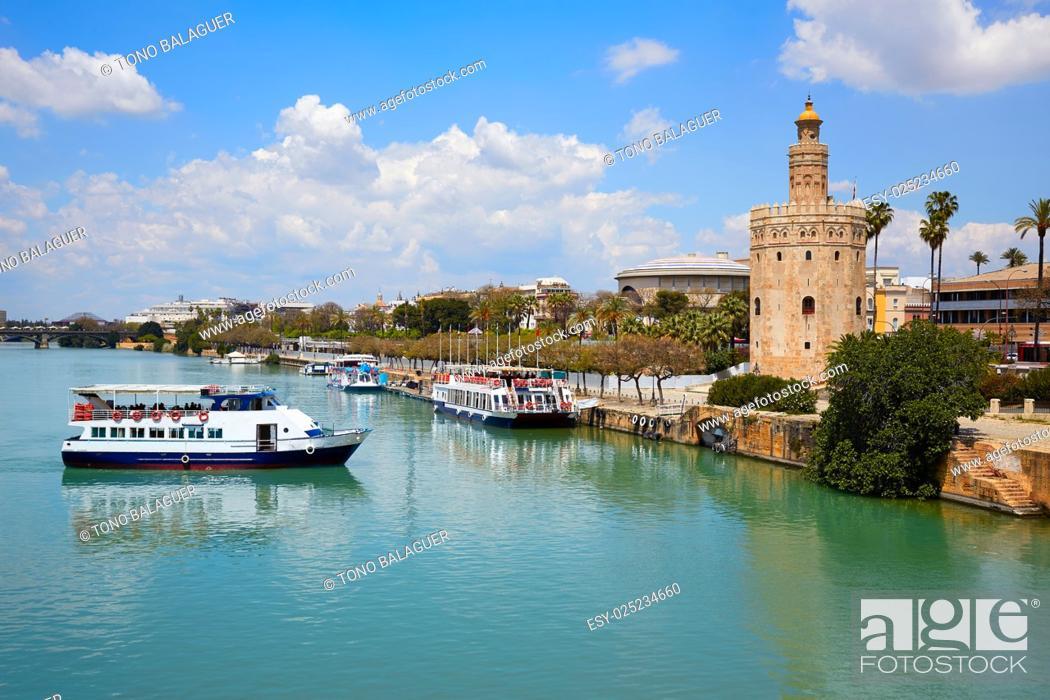 Stock Photo: Seville Torre del Oro tower in Sevilla Andalusia Spain.