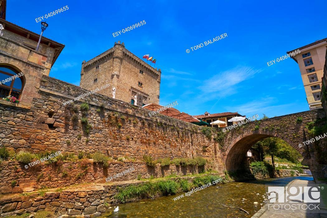 Stock Photo: Potes river Quiviesa Deva a Cantabria village of Spain.