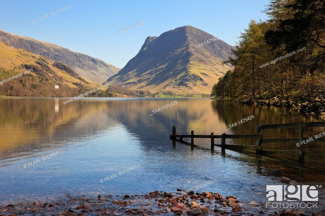 Stock Photo: Buttermere, Cumbria, England, UK, Europe  Scenic view to Fleetwith Pike reflected in Buttermere Lake in the Lake District National Park.