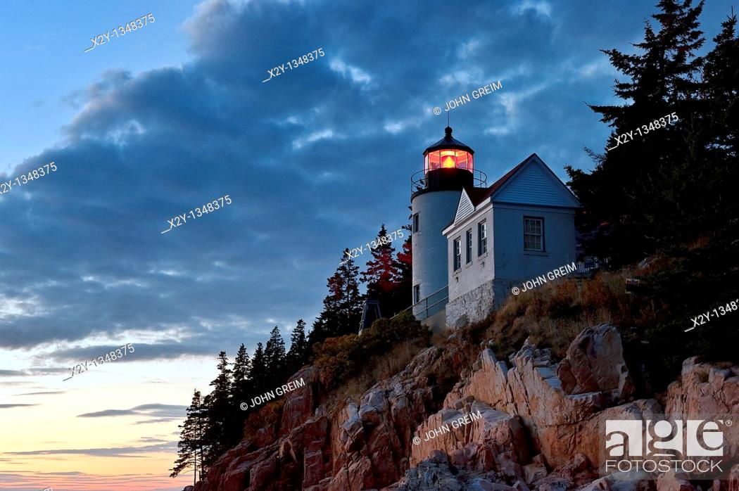 Stock Photo: Bass Harbor Light, Bass Harbor, Acadia National Park, Maine, ME, USA.