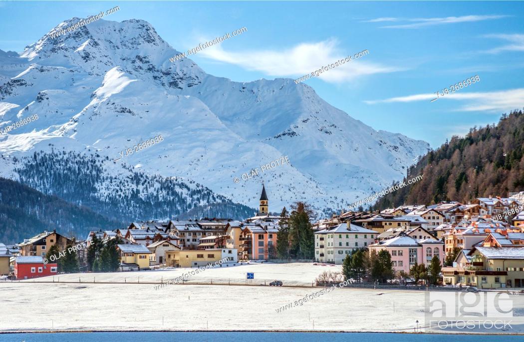 Stock Photo: Lake Silvaplana and village in winter, Engadine, Grisons, Switzerland.