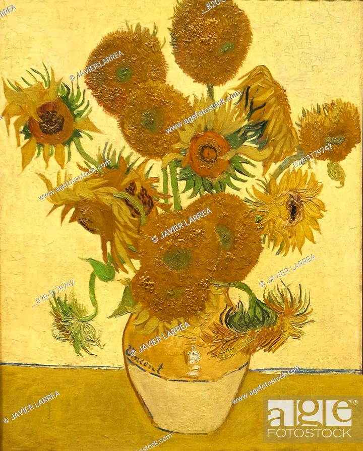 "Stock Photo: """"""Sunflowers"""", 1888, Vincent Van Gogh, National Gallery, London, England, UK."