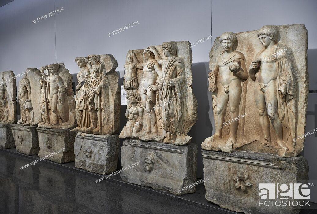 Stock Photo: Interior of Aphrodisias Museum, showing Roman Sebastian relief sculptures, Aphrodisias, Turkey.