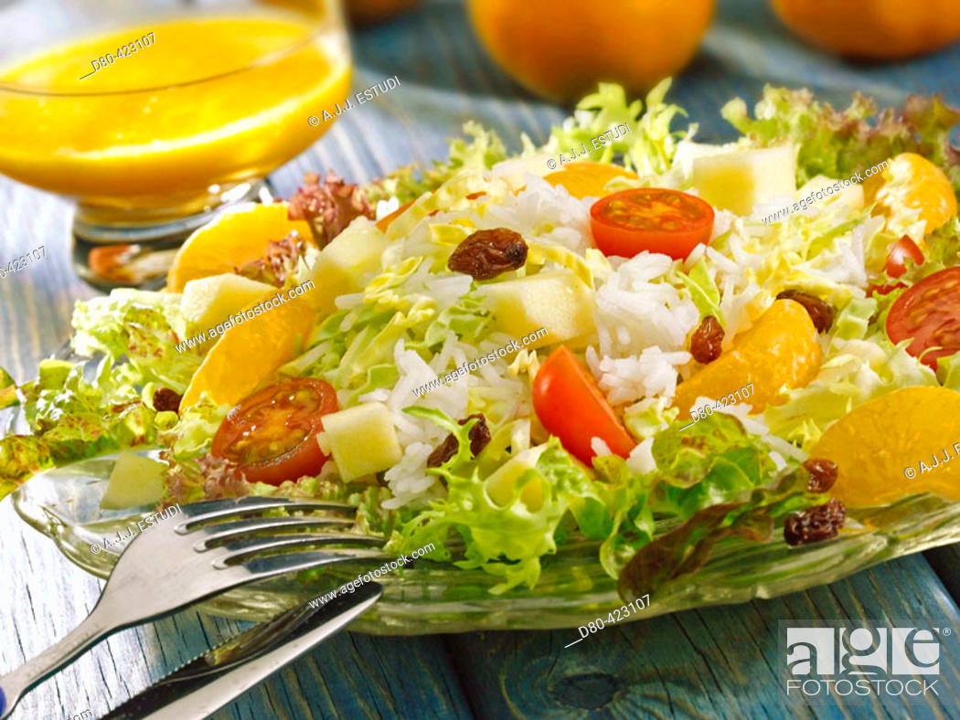 Stock Photo: Rice and tangerine salad.
