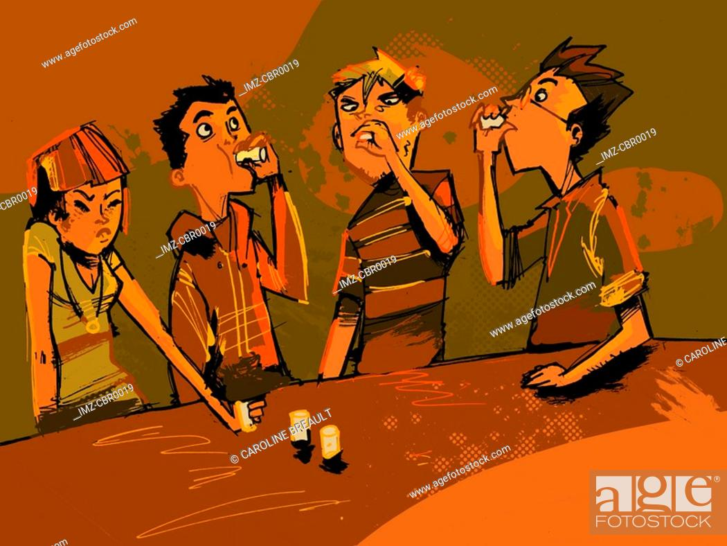 Stock Photo: A group of people doing shots at a bar.