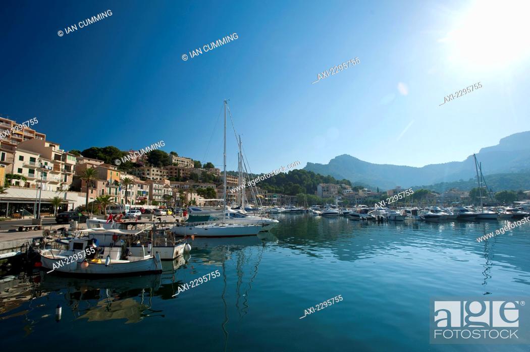 Stock Photo: Looking across harbor of Port Soller; Majorca, Spain.