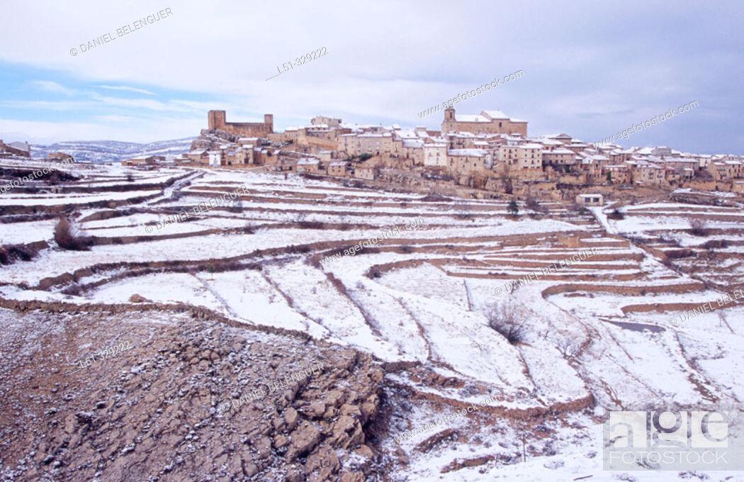 Stock Photo: Puertomingalvo snow covered. Teruel province. Aragón. Spain.