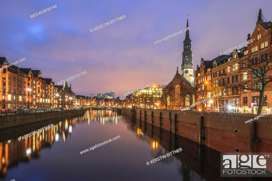 Stock Photo: Germany, Hamburg, view to Zollkanal and Old Warehouse District, St. Catherine's Church and Elbe Philharmonic Hall in the background.