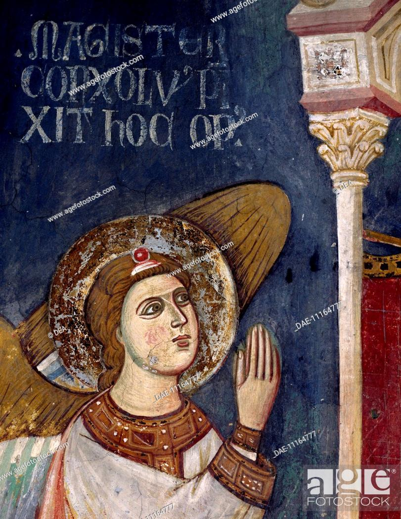 Stock Photo: Figure of Angel, detail from the Enthroned Madonna with Angels, 13th century fresco by Consolo or Magister Consolus. The Lower Church of Sacro Speco Monastery.