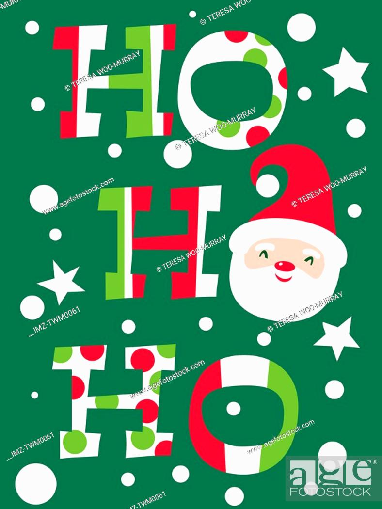 Stock Photo: A Christmas based illustration with the words Ho Ho Ho and an image of Santas face replacing one of the Os.
