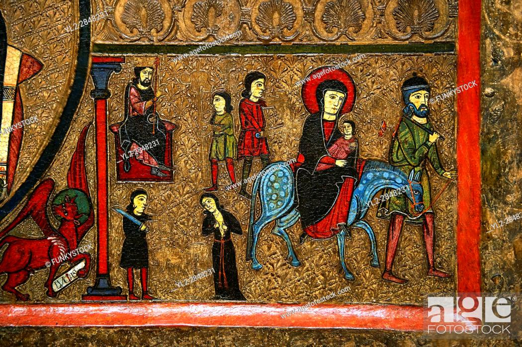 Stock Photo: Romanesque Altar Front of Cardet. . Thirteenth century paint and metal relief on wood from a church of Santa Maria of Cardet, Vall de Boi, Alta Ribagorca, Spain.