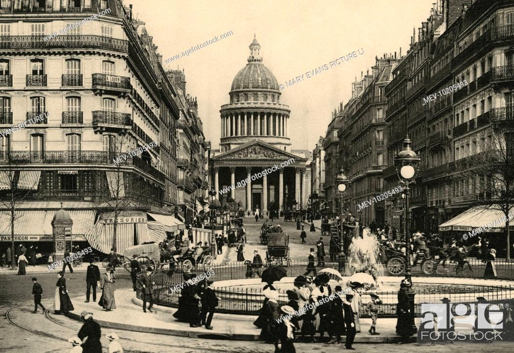 Stock Photo: The Pantheon seen from the farther end of the rue Soufflot : the boulevard Saint-Michel runs down from our left, les jardins du Luxembourg are behind us.