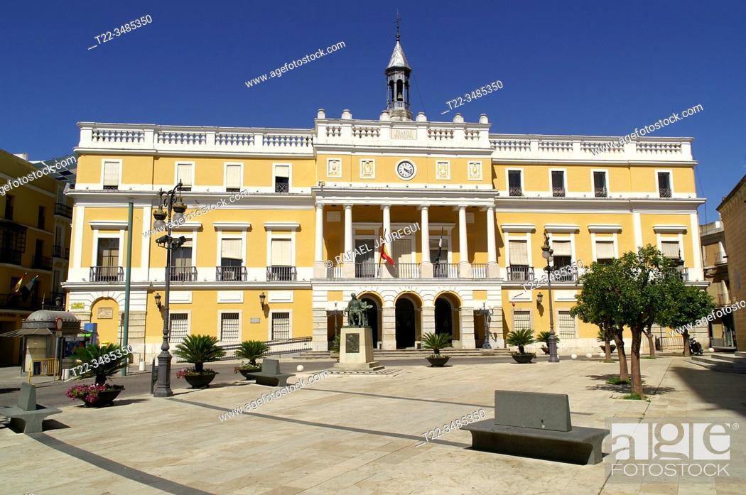 Stock Photo: Badajoz (Extremadura) Spain. Plaza de España in the historic center of the city of Badajoz.