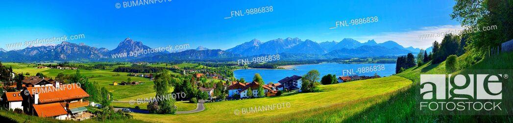 Stock Photo: Castle Neuschwanstein, Ammergau Alps, Bavaria, Germany, Europe.