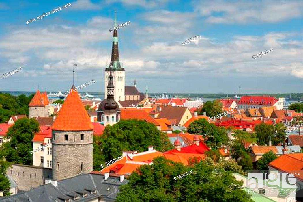 Stock Photo: Historic buildings in Old Town of Tallinn, Estonia. GPS information is in the file.