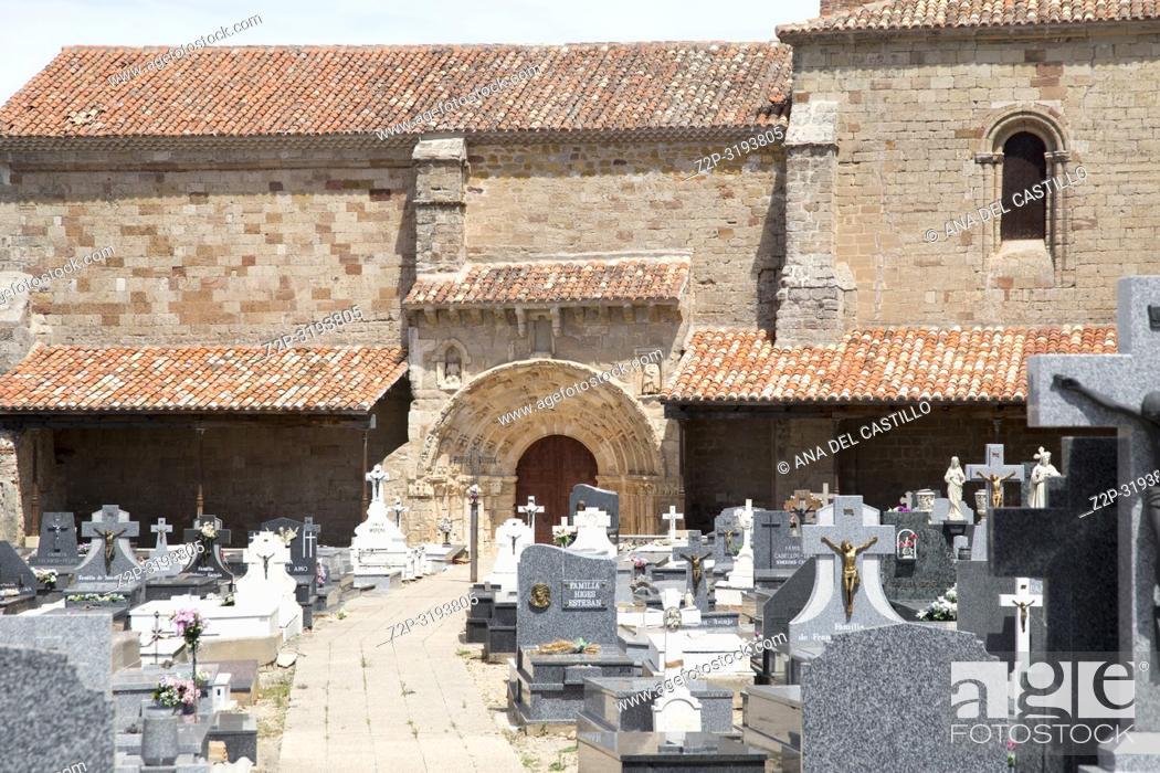 Stock Photo: Santa Maria del Rey church and cemetery Atienza village in Guadalajara, province, Castilla-La Mancha, Spain.